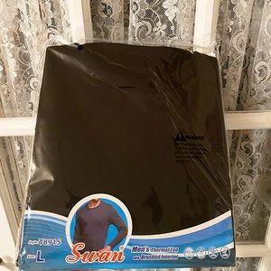Men's Swan Black Thermal Shirt Size Large